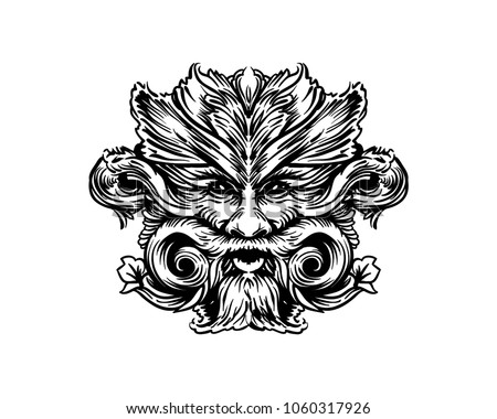 line art hairy old face hand