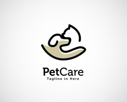 Line art hand pets animal care logo symbol design illustration