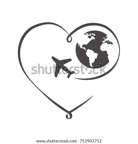 line art heart with globe and