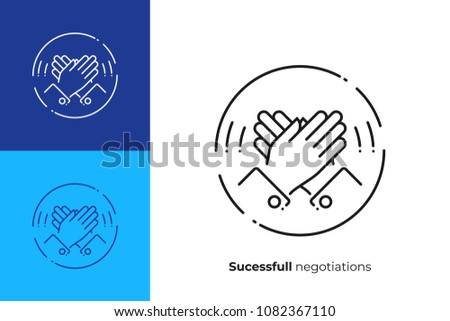 line art high five. Rised hands slap. Team building. Scalable vector icon in modern lineart style. outline elements vector illustration.