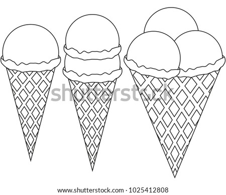 line art ice cream 1 2 3 ball