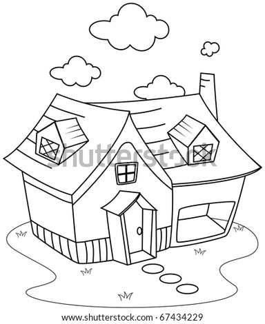 Line Art Illustration of a Cute Little House (Coloring Page)