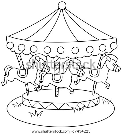Line Art Illustration of a Merry Go Round (Coloring Page)