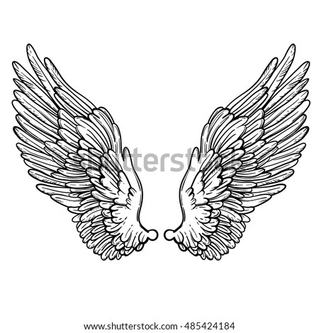 Stock Photo Line art illustration of angel wings. Hand drawn vector card. Sketch for tattoo, hipster t-shirt design, vintage style posters. Coloring book for kids and adults.