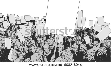 Line art illustration of crowd protest with blank signs and banners
