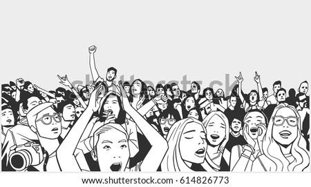 Line art illustration of festival crowd going crazy at concert