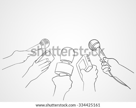 Line art illustration of hands holding microphones and recorders for journalism symbol