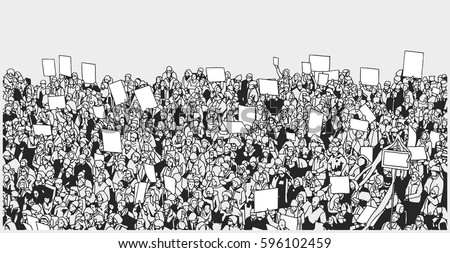 Shutterstock Line art illustration of massive crowd protest with blank signs
