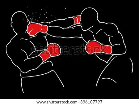Line art illustration of two boxer Zdjęcia stock ©