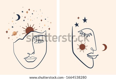 Line art Illustration with Mystical and Celestial elements like stars, moon, sun and planets. Magic, spiritual graphic elements.