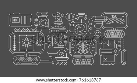 Line Art Illustration Style : Dark studio style background vector design illustration download