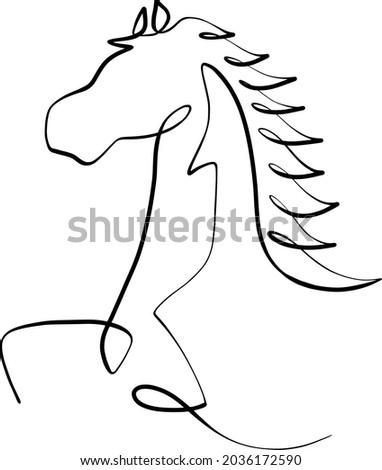 line art keep running horse