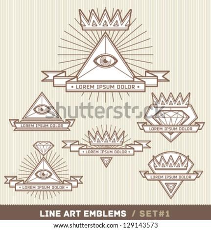 Line art labels - stock vector