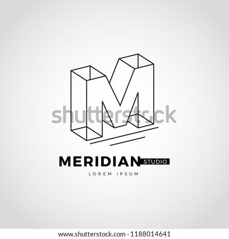 Line Art Lettering Logo Type M Sign Symbol Icon