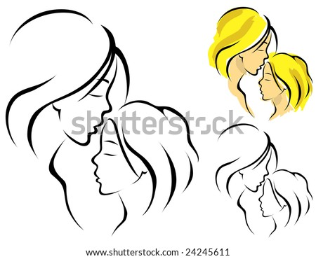 Line art logo of a mother and her daughter - stock vector
