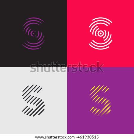 Line art logo set. Letter