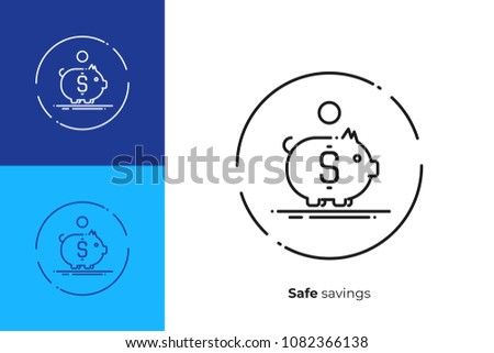 Line art money box. Finance saving. Scalable vector icon in modern outline style. Lineart elements vector illustration.