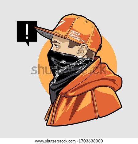 Line art of gangster young man in snapback, face masked with bandana. Weared in hoodie. Vector illustration. Stock photo ©