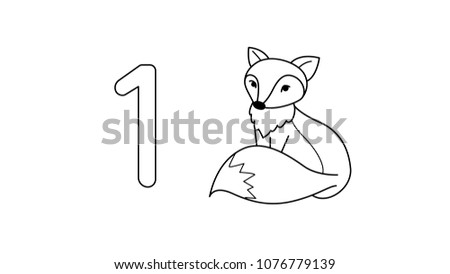 Line Art Of Number One And A Fox For Coloring Book Page Kids Vector