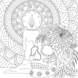 Line art of skull and candle for Halloween theme coloring book, coloring page and other design element. Vector illustration