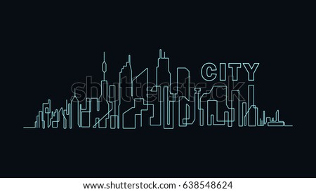 line art of skyscrapers in the