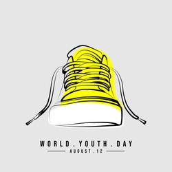 Line art of Sneaker Shoes vector illustration. Perfect template for youth design.