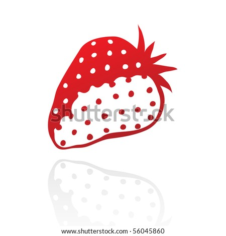 Line art red strawberry isolated on white