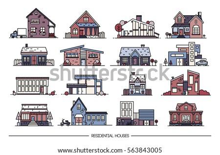 line art residential house