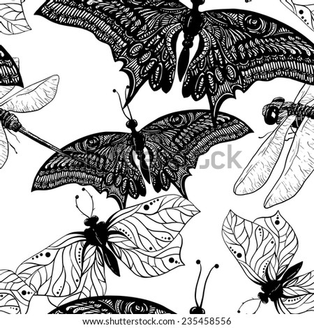 line art seamless pattern with
