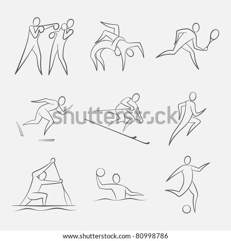 Line-Art Sports Figures. Simple vector figures of a sportsmans pictured in line-art style. Sports: Boxing, Wrestling, Tennis, Speed Skating, Slalom, Athletics, Canoeing, Waterpolo, Football/Soccer
