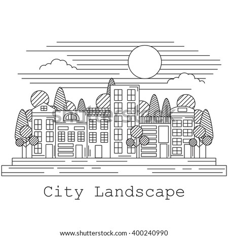 line art style city landscape