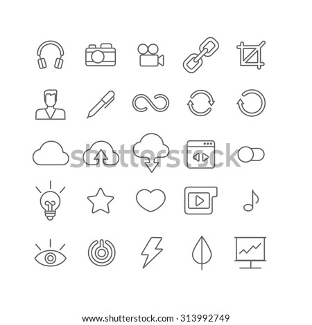 Line art style flat graphical set of web site mobile interface app icons. Music headphones camera video link crop user profile edit loading reload cloud upload download. Lineart world collection.