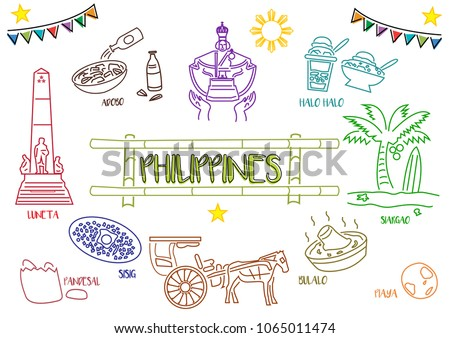 Line art style of Philippine tourist spots culture and heritage images.  Editable Clip Art.