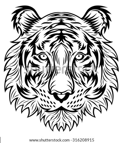 line art tiger head