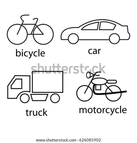 Line art transportation icons set, vector illustration
