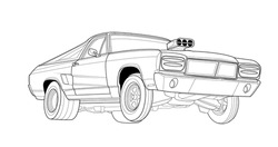 Line art vector car, concept design. Vehicle black contour outline sketch illustration isolated on white background. Stroke without fill. Cower drawing. Black-white icon.
