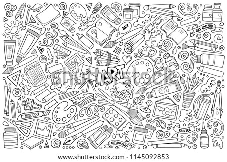 Line art vector hand drawn doodle cartoon set of Art and Craft objects and symbols Сток-фото ©