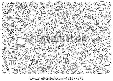 Line art vector hand drawn doodle cartoon set of design theme items, objects and symbols