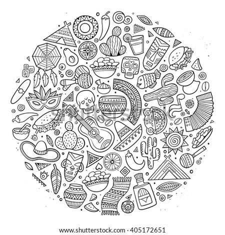 Line Art Vector Hand Drawn Doodle Cartoon Set Of Latin American