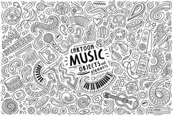 Line art vector hand drawn doodle cartoon set of Music theme items, objects and symbols