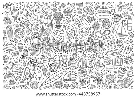 Line art vector hand drawn doodle cartoon set of summer time season objects and symbols