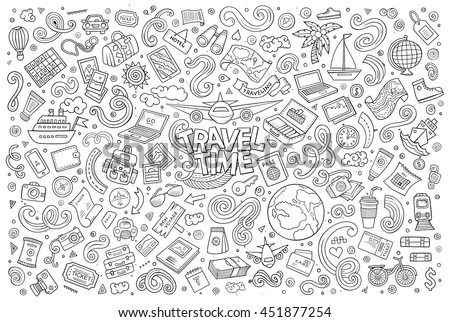 Line art vector hand drawn doodle cartoon set of travel planning theme items, objects and symbols