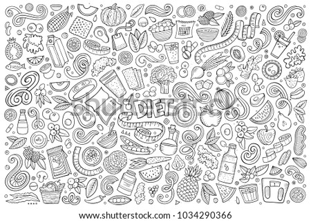 Line art vector hand drawn doodles cartoon set of Diet food objects and elements