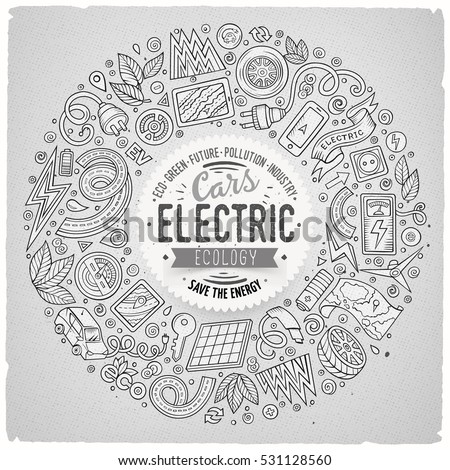 Line art vector hand drawn set of Electric cars cartoon doodle objects, symbols and items. Round frame composition