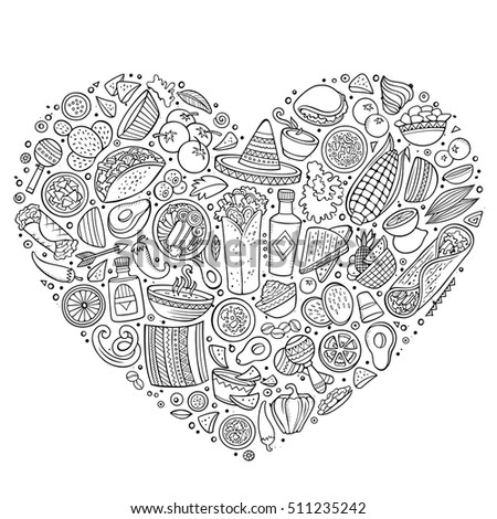 Line art vector hand drawn set of Mexican food cartoon doodle objects, symbols and items. Heart form composition