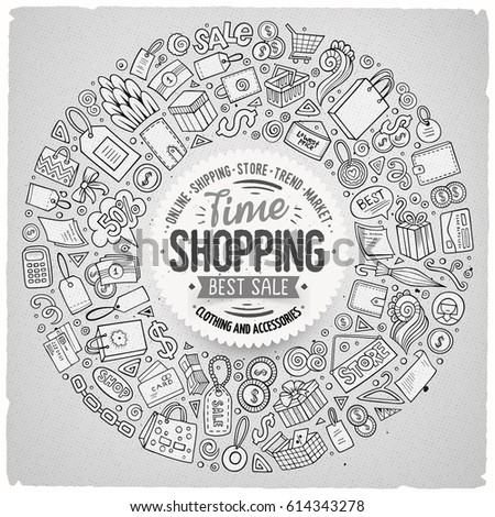 Line art vector hand drawn set of Shopping cartoon doodle objects, symbols and items. Round frame composition