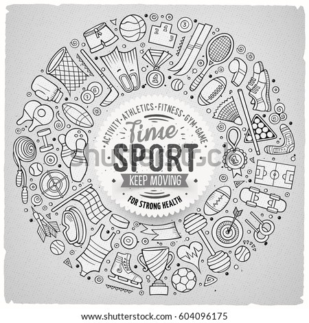 Line art vector hand drawn set of Sport cartoon doodle objects, symbols and items. Round frame composition