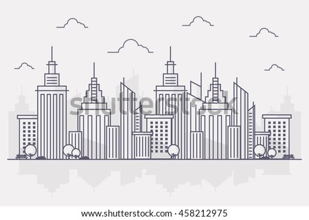 Line Art Vector Illustration of Modern Big City Background with Skyscrapers. Flat design Style.
