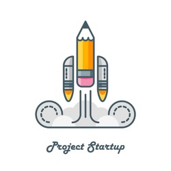 line art vector logo of pencil with rocket engines education knowledge start up project concept