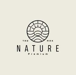 Line Art Wave Ocean And Sun Logo Minimalist Landscape Vector illustration label. emblem badge symbol icon nature retro vintage black silhouette.